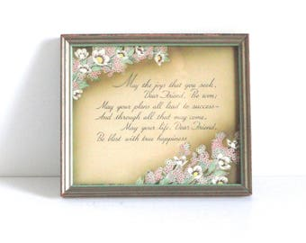 Vintage Buzza Company Framed Sentimental Poem c1920s
