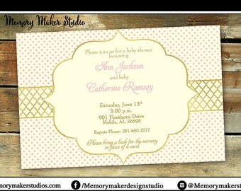 Pink and Gold Shower Invitation | Birthday Invitation | Choose your own color scheme | Choose your own Wording | Print Your Own | Digital
