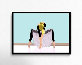 Beautiful ballerina girl dancing woman yoga art prints poster