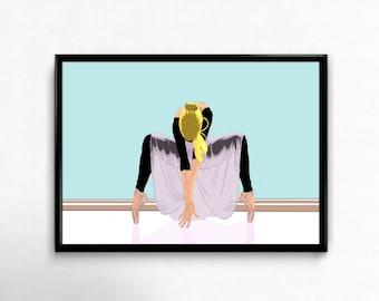 Beautiful ballerina girl dancing woman yoga art prints poster