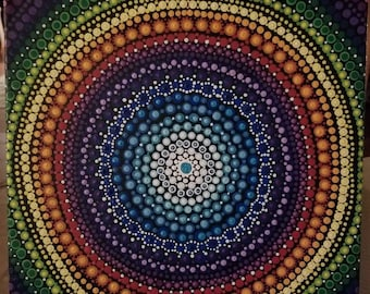 Shades of a rainbow dot painting
