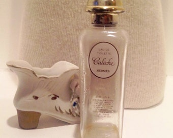 Old Vintage Rectangular 1960s Caleche Hermes Paris Perfume Bottle Vintage Women Accessories Toiletry Bottle