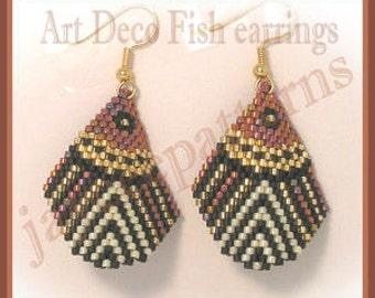 Beaded Earring Pattern - Art Deco Fish - Brick stitch