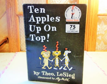 "Vintage 1961 Copy Ten Apples Up On Top Paperback Book by Theo LeSIEG ""Kellogg's Sponsored LOOK INTO BOOKS"" Very Good Condition {Dr Seuss}"