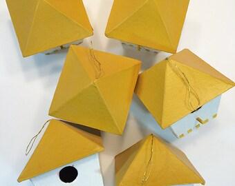 Birdhouse Ornaments, Yellow & White - Set of 6