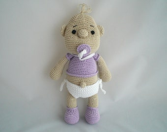 Crochet New Baby Doll / New Baby Doll Soft Toy / Crochet Amigurumi Super Soft Baby Doll /  Baby Plushy / with Nappy and Dummy / Pacifier.