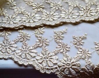Ivory gold lace, Lace trim, Gold lace trim, Gold lace, Wedding lace, Bridal lace, Scallop border lace, Gold tulle lace, Golden Lace, Lace