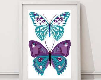 "Blue purple color butterflies- Instant Download-Home Decor-8""x10"" Jpeg Files- Color customization available"