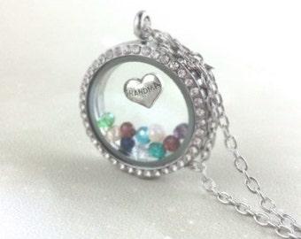 Sterling Grandma Jewelry - Sterling Silver Grandma Necklace - Custom Personalized Grandmother Locket Pendant - Grandchildren Birthstone Gift