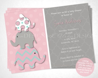 Stacked Elephant Baby Shower Invitation - Pink & Aqua - DIY Printable