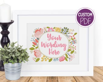 Create your own Cross Stitch Pattern, Custom Modern Floral Cross Stitch, Custom cross stitch pdf, counted cross stitch Chart