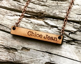 Chloe Jean - Custom Name Wood Necklace - Engraved Wooden Bar Drop Necklace with Copper Tone Chain - Mothers Day Gift