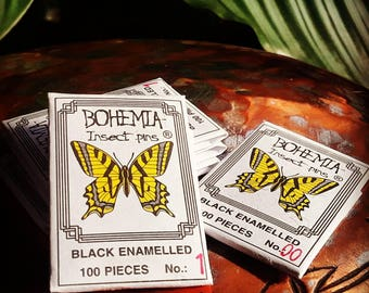 Bohemia Insect Pins, 100 piece packet of black enameled butterfly taxidermy mounting pins