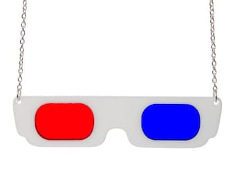 XL Retro 3D Glasses necklace - laser cut acrylic
