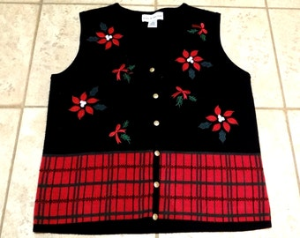 Vintage Christmas Sweater Vest Size Petite Small, Black Ugly Xmas Sweater Vest, Womens Mens Teen Unisex Fashion, Tacky Christmas, Party Wear