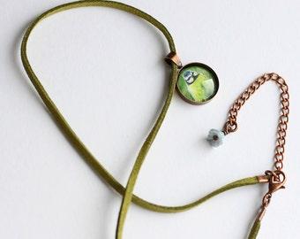 Tiny Blue Tit Pendant, Spring Necklace, Bird Necklet, Faux Suede Necklace, Blue Tit Gift, Green Cord Necklace, Amanda Drage Art
