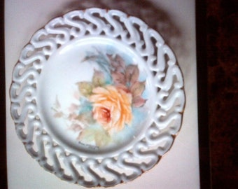 Hand Painted Plate with lovely floral pattern