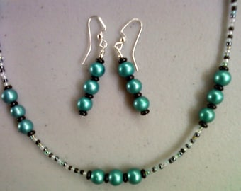 Teal Blue and Black Pearl Necklace and Earrings (0100)