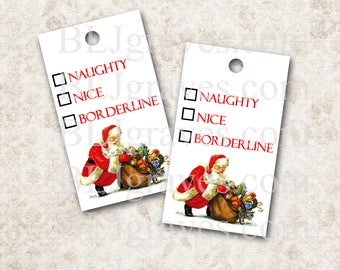 Christmas Gift Tags Vintage Style Santa Naughty Nice Handmade Party Favor Treat Bag Tags TC004
