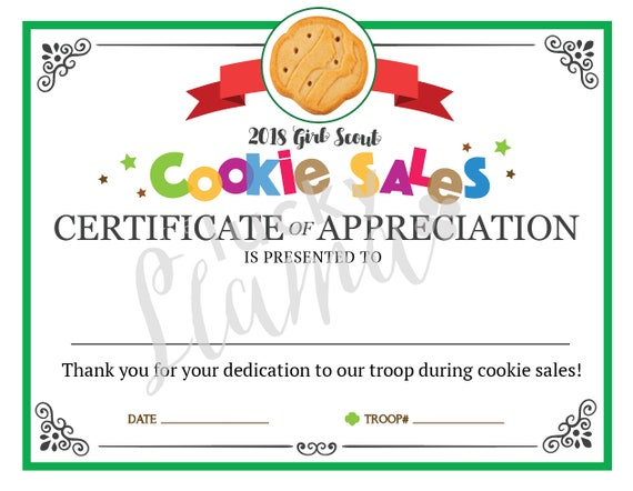 Girl scout cookie mom printable certificate editable instant yelopaper Image collections