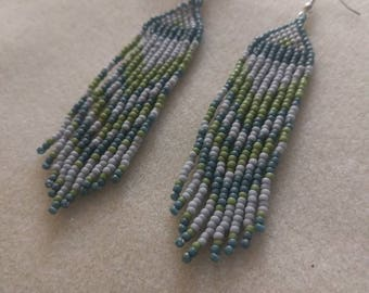 Matte Grey, Green, and Blue Boho Dangle Seed Bead Earrings