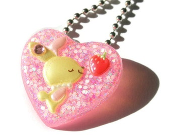 Resin Bunny Necklace, Kawaii Rabbit Heart Pendant, Sweet Lolita Pastel Jewelry