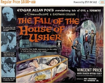 Spring Sales Event: The FALL Of The HOUSE Of USHER Movie Poster 1960 Vincent Price