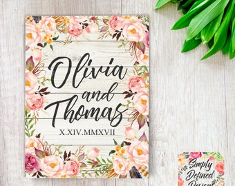 Floral Wedding Guest Book, Rustic Floral Guest Book, Wedding Shower Book, Tribal Guest Book, Tribal Floral Wedding Favor, Floral Guestbook