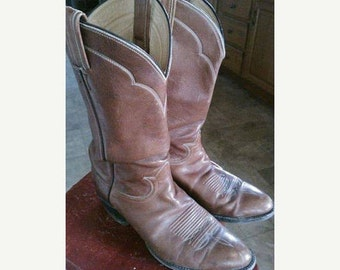 Classic 70s Toffee Brown Leather Tony Lama boots with Stitching details - M9.5/W 10.5-11