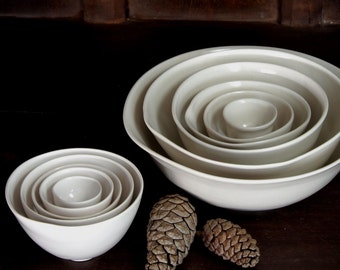 Petite White Nesting Bowls