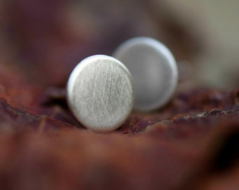 Brushed Sterling Silver Stud Earrings - Everyday Basics - Solid Silver - Winter Fashion - For Him - For Her
