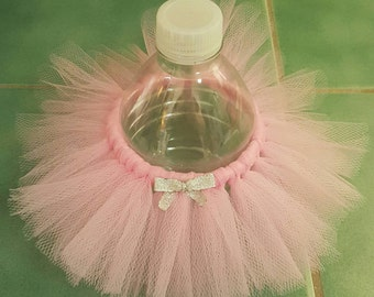 BOTTLE TUTU Princess Party Favor* birthday decoration ballerina Pink and Silver Baby Shower bridal Wedding Sweet 16 quinceanera girl tulle