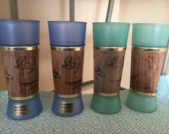 Siesta Ware Frosted Tiki Glasses with walnut jacket--set of 4