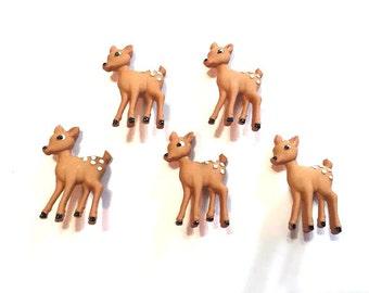 Deer Buttons Jesse James Buttons Forest Babies Dress It Up Buttons Set of 5 Shank Flat Back Choice Hair Craft Scrapbook Supply - 744