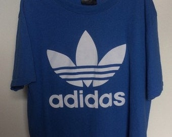 90s Vintage Clothing Retro Men's Adidas T-shirt Blue Large