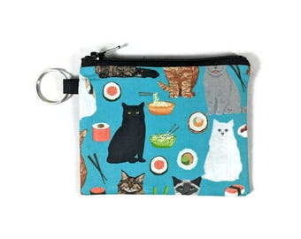 Cats and Sushi Coin Purse, Mini Zipper Pouch, Coin Pouch, Earbud Holder, change Purse, bridesmaid gift, coin pouch keychain