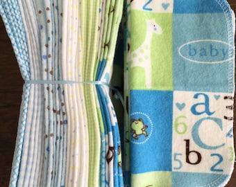 Cloth Baby Wipes Starter Kit. 3 dozen wipes.   Eco friendly reusable cloth diapering wipes. Giraffes
