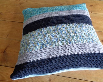 decorative pillow cover, crochet cotton and inside linen. Blue and sky blue