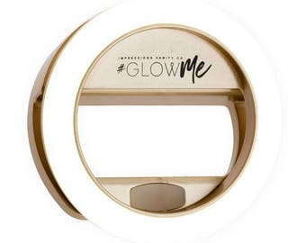 GlowMe 2.0 LED Selfie Ring Light for Mobile Devices (Clip-on, USB Rechargeable, Champagne Gold)