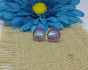 Light Purple Mermaid Earrings, Mermaid Earrings, Scale Earring, Stainless Steel, Mermaid Studs, Stud Earrings, Mermaid, Color Shifting, 12mm
