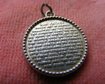 B) Vintage Sterling Silver Charm Our father prayer