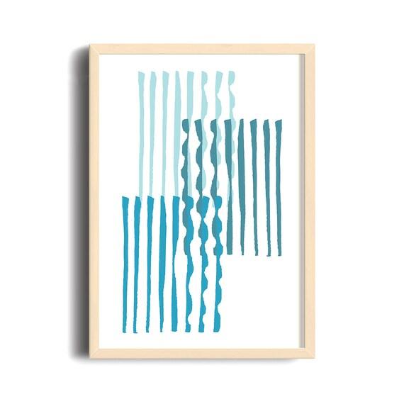 GRÈCE #002 // poster, Abstract art, 12x18, minimalist art print, geometric, mid century, Scandinavian style, blue, greece