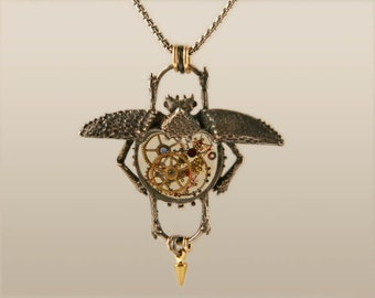 Clockwork Beetle, Steampunk Beetle Necklace, Silver Clockwork Steampunk Beetle by Jackie Taylor Designs