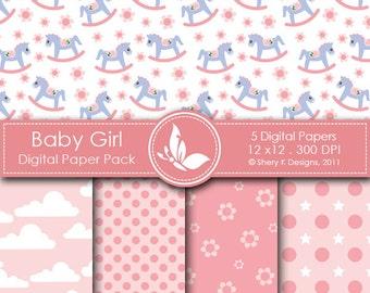 Baby Girl Paper Pack - 5 Printable Digital paper - 12 x12 - 300 DPI