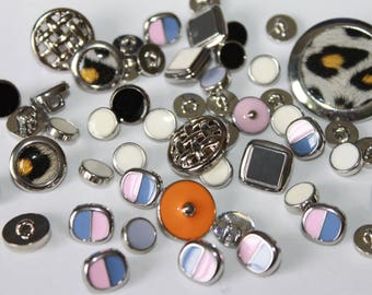 Assorted shiny silver, enamel buttons, mixed various shapes and sizes, shank buttons, children buttons, lot of 50 decorative buttons