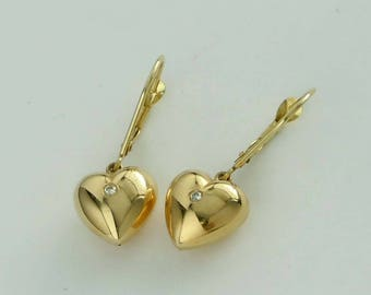 14Kt Yellow Gold Diamond Puffy Heart Dangle Earrings with gift box