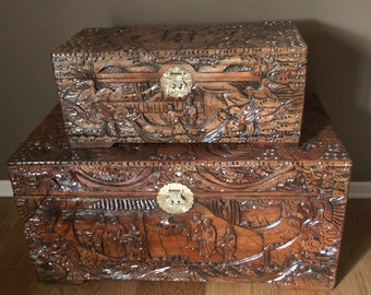 Vintage Camphor Chest Trunk Large Hand Carved Wood Asian Oriental Decor Storage Hope Coffee Table Ottoman China Gift Wedding