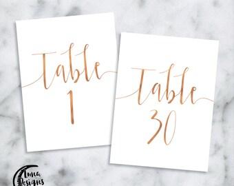 Rose Gold Printable Table Numbers / Jamie Swishy / Wedding Table Numbers / Table Numbers 1-30 / Instant Download / Digital / A6