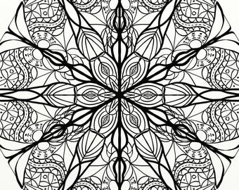 Flower Mandala / Stained Glass Adult Coloring Page