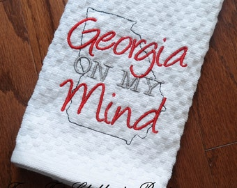 Georgia On My Mind Embroidered Kitchen Towel - Embroidered Kitchen Towel - Housewarming Gift - Wedding Gift